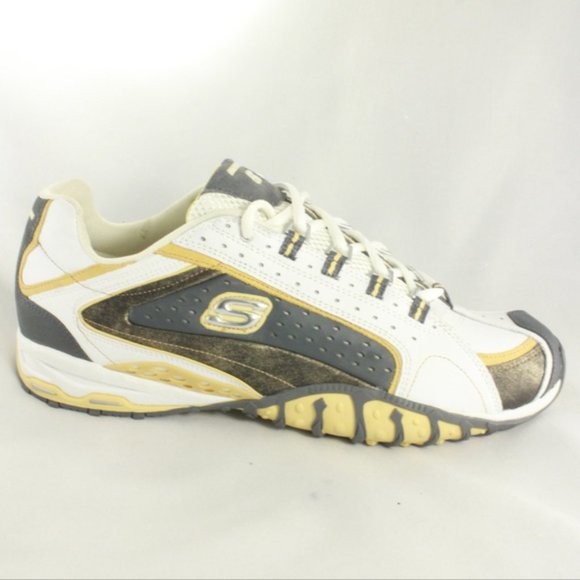 Skechers Shoes   Damen White And Gold